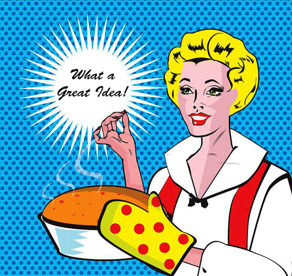 Color graphic woman baking caption what a great idea